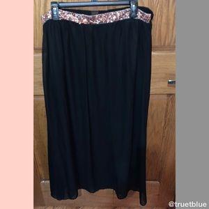 🆕 IMAN Rose Gold Sequin Belt Maxi Skirt Sz XL